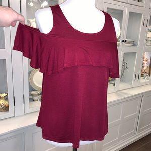 Miami Cold Shoulder Ruffle Top -Crimson